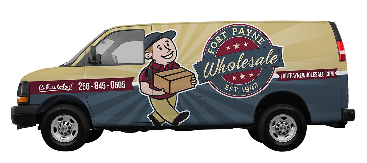 Box Truck vehicle wrap design for Fort Payne Wholesale, a wholesaler serving Northeast Alabama located in Fort Payne, AL