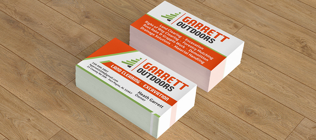 Business card design for Garrett Outdoors.