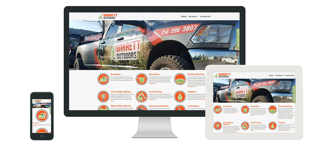 Website design for Garrett Outdoors.