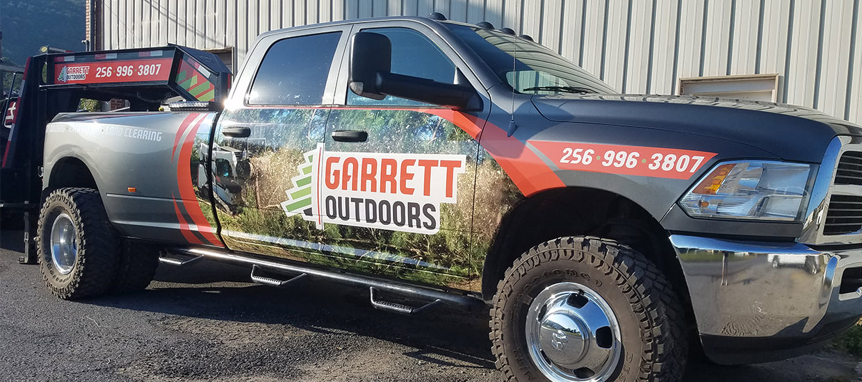 Truck wrap design for Garrett Outdoors.