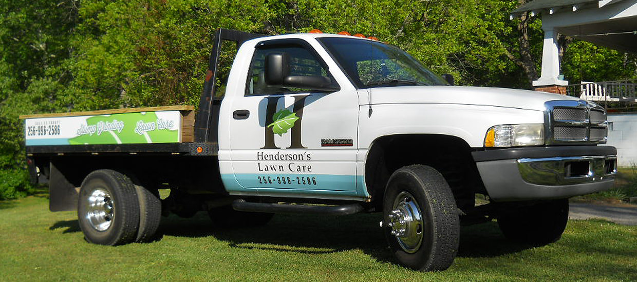 Partial vehicle wrap design for Henderson's Lawn Care, located in Fort Payne, AL.