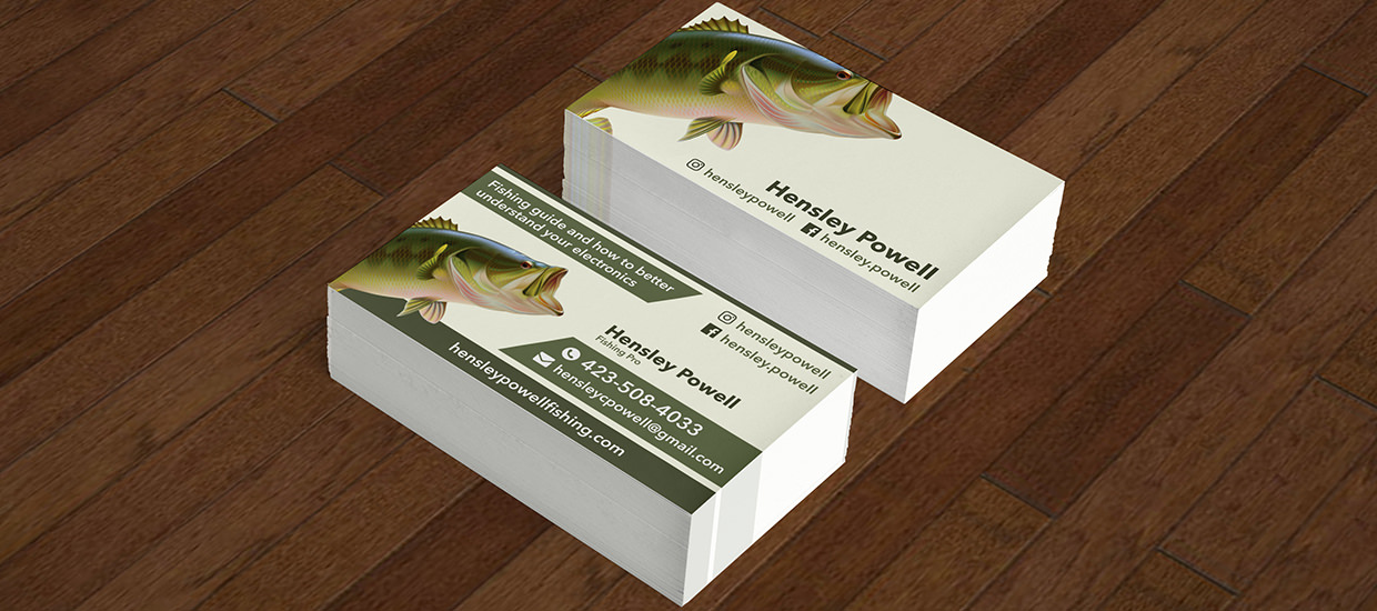 Business card design for Hensley Powell, a Chattanooga, TN fishing instructor.