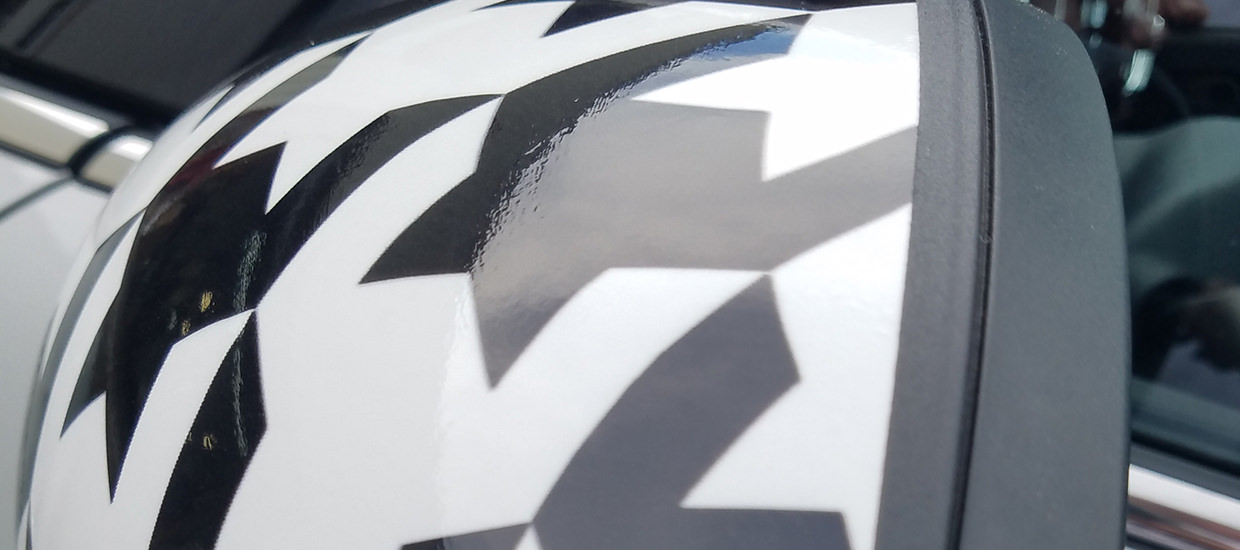 Houndstooth Mini Cooper Roof and Mirror Wrap.