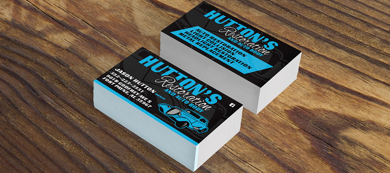 Business cards for Hutton's Restoration