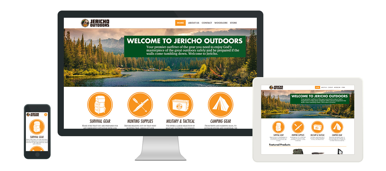 Responsive website and store design for Jericho Outdoors, an outdoor supply store located in Alabama.