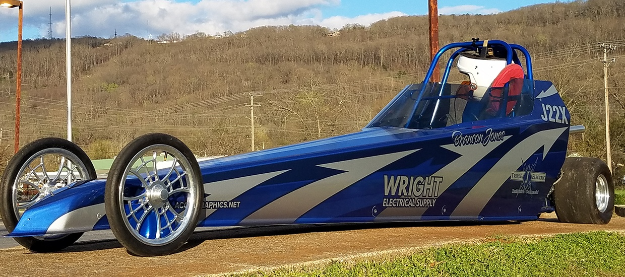 Junior dragster wrap design and installation.
