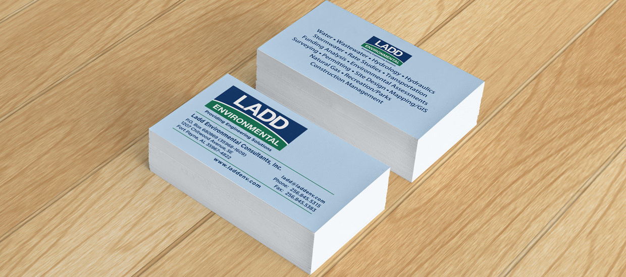 Business Card layout for Ladd Environmental, a civil engineering firm.