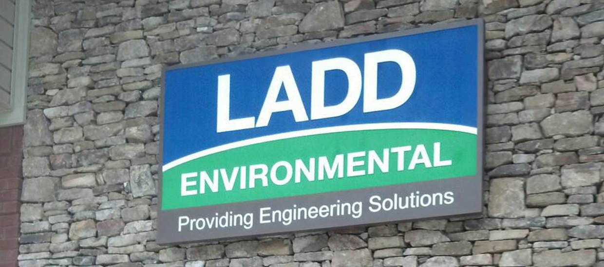 Sandblasted sign for Ladd Environmental, a civil and environmental engineering consulting firm located in Fort Payne, Alabama.