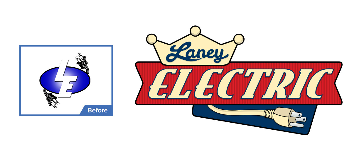 Before and after of our logo redesign for Laney Electric.