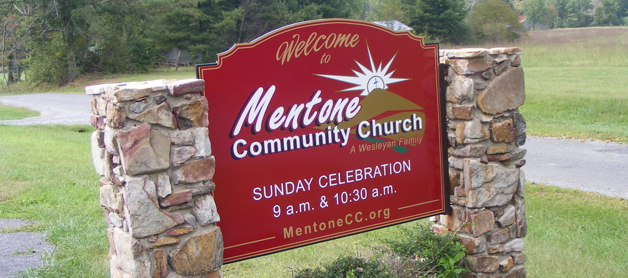 Shaped MDO sign for Mentone Community Church, located in Mentone, Alabama.