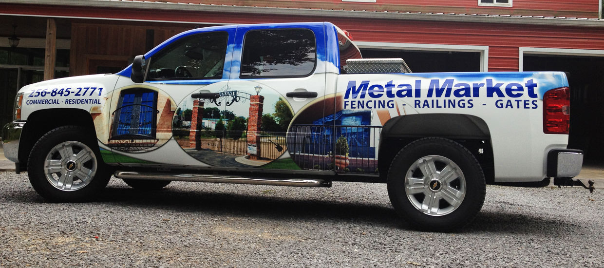 Truck wrap for Metal Market, a metal fabricator located in Fort Payne, Alabama.