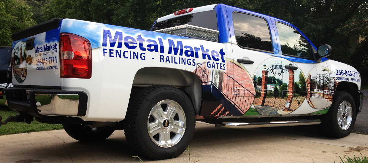Vehicle Wrap for Metal Market, an Alabama metal fabricator.