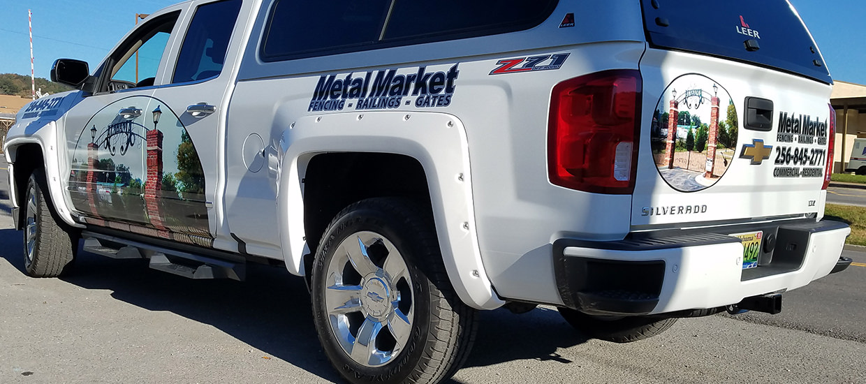 Vehicle Wrap for Metal Market, a Northeast Alabama metal fabricator.