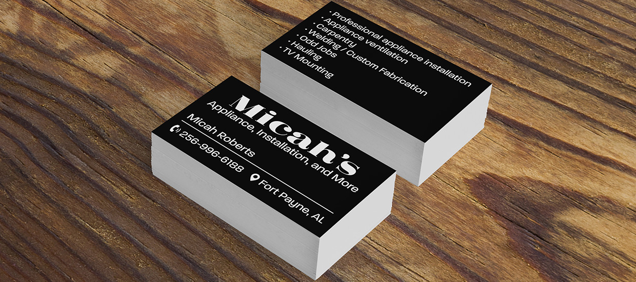 Business cards for Micah's