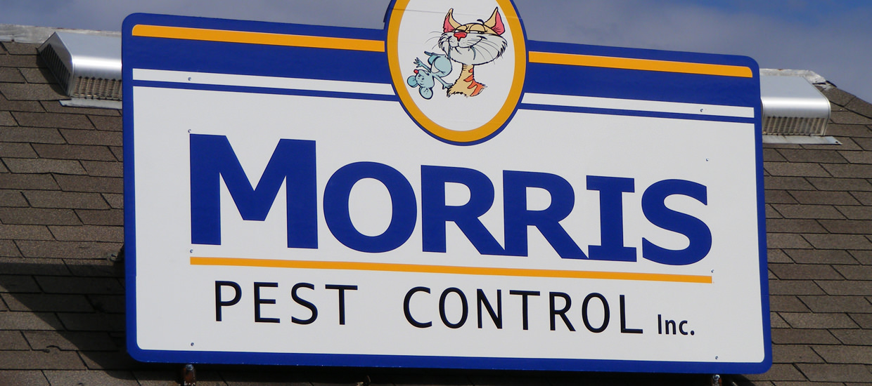 Polymetal sign for Morris Pest Control, a pest control business located in Fort Payne, Alabama.