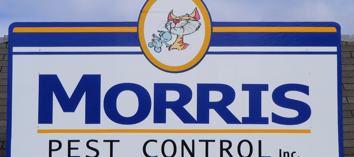 Polymetal sign for Morris Pest Control, an Alabama based pest control business.