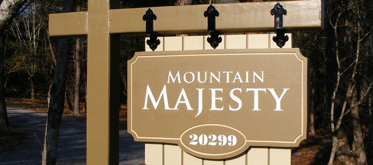 Sandblasted sign for Mountain Majesty.