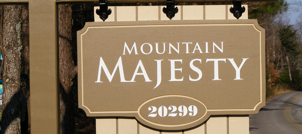 Sandblasted sign for Mountain Majesty