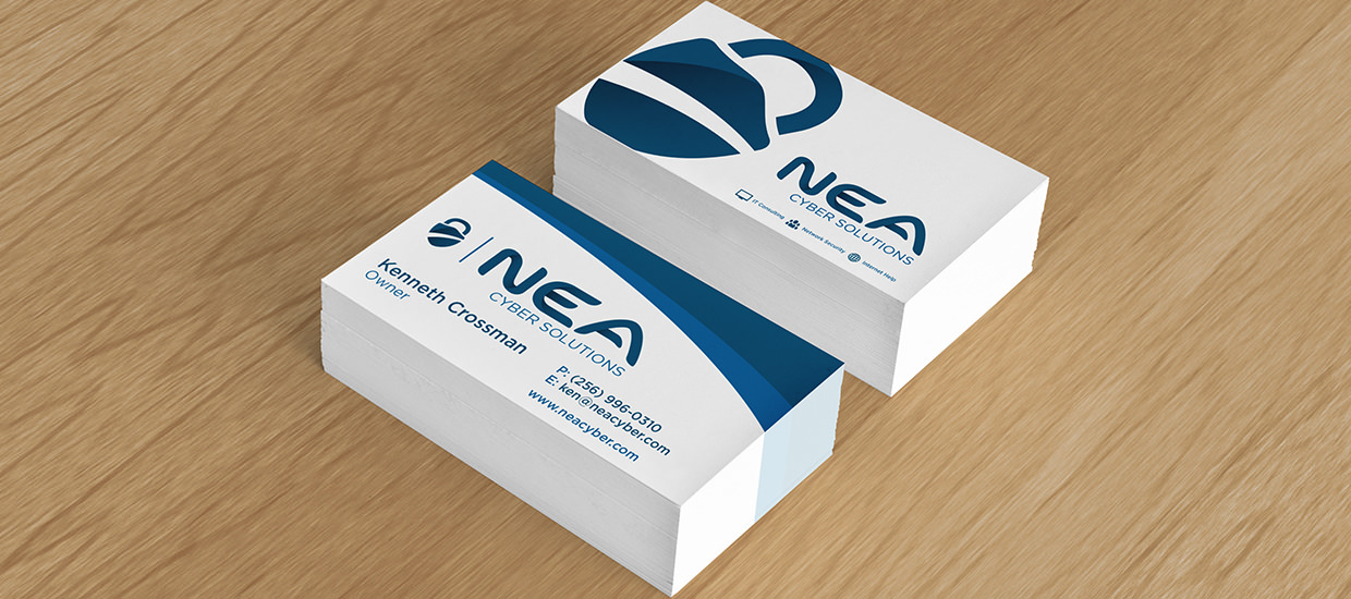 Business Card design for NEA Cyber Solutions, a Northeast Alabama computer security consultant.