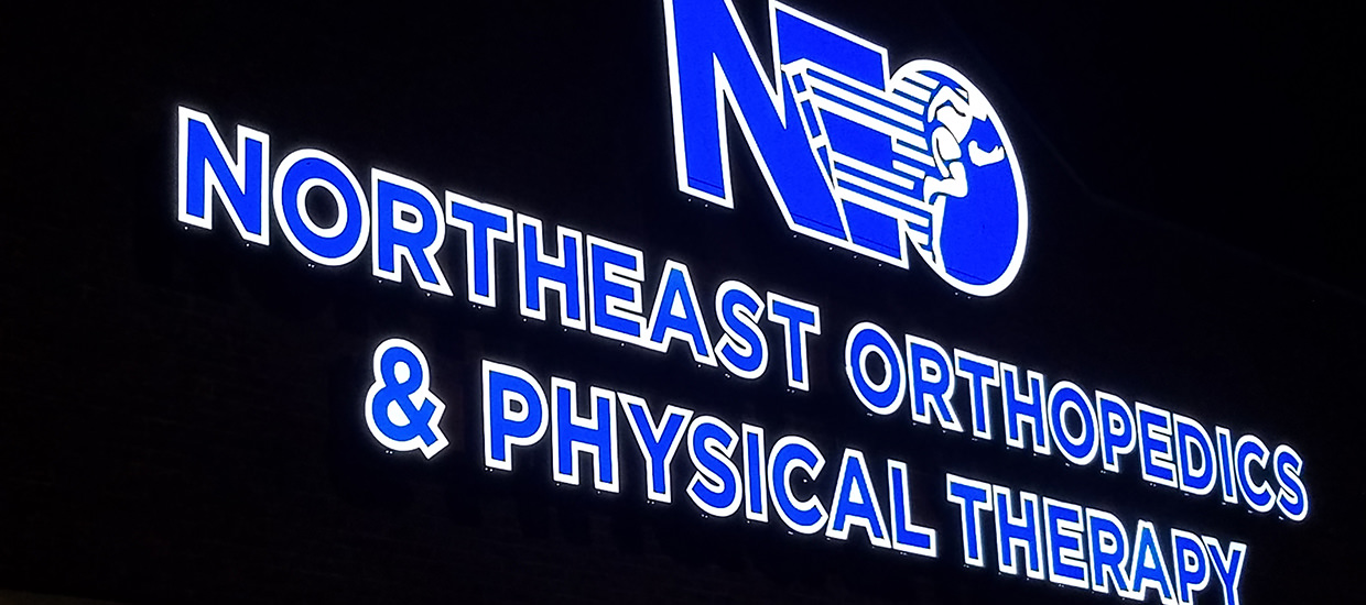 Channel letter sign for Northeast Orthopedics and Physical Therapy in Fort Payne, Alabama.