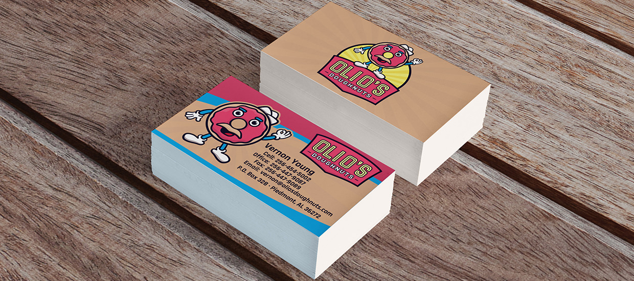 Business card design for Oli O's Doughnuts, an Alabama doughnut shop.