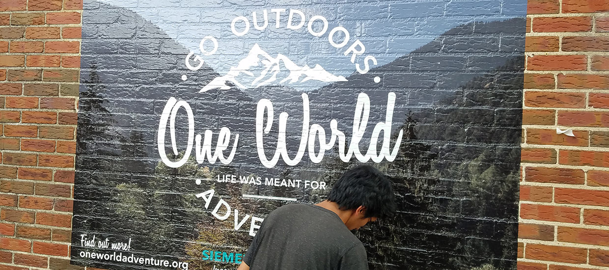 One World wall wrap.