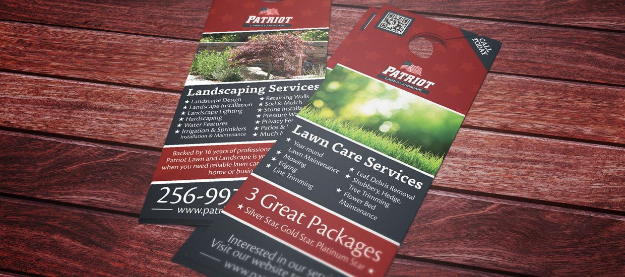 Door hanger design for Patriot Lawn and Landscape.
