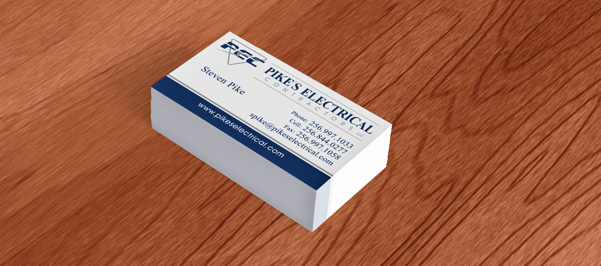 Business Cards for Pike's Electrical Contractors, an electrical contracting company located in Fort Payne, AL.