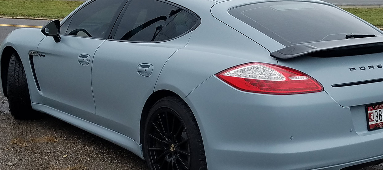 Color change wrap for a Porsche Panamera.