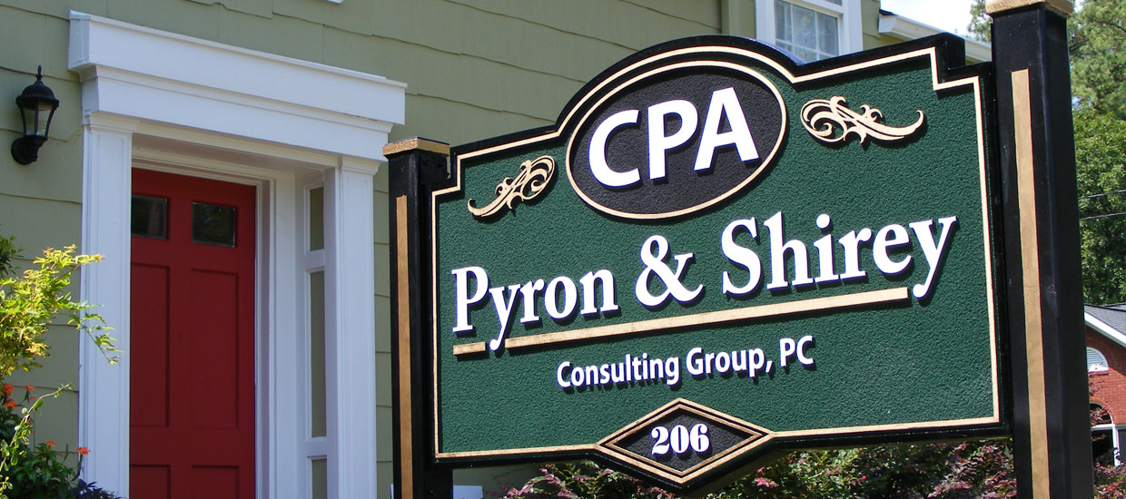 3-d sign for Pyron & Shirey Consulting Group, a CPA consulting firm located in Fort Payne, Alabama.