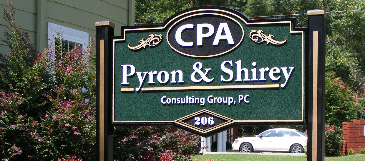 Sandblasted sign for Pyron & Shirey Consulting Group, an Alabama CPA firm.