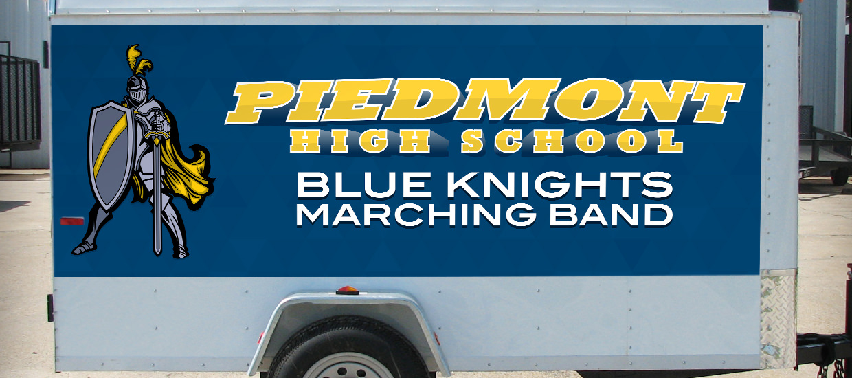 Trailer wrap for Piedmont High School Marching Band.