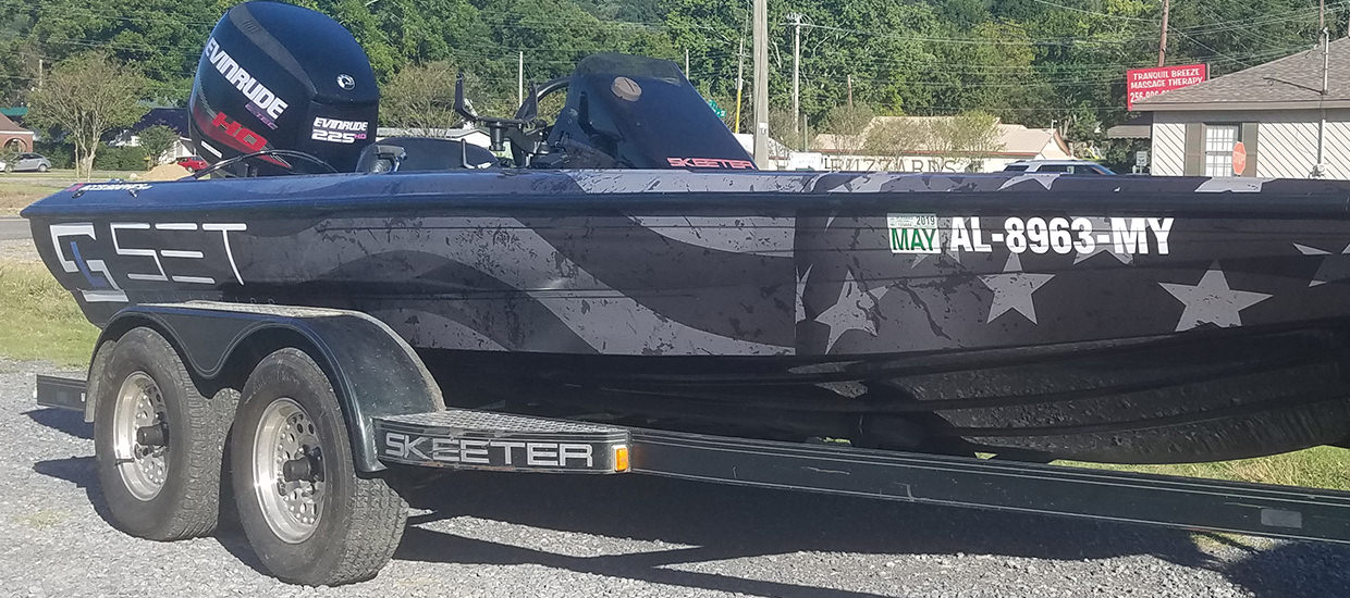 SET Logistics - Bass boat wrap design and installation.