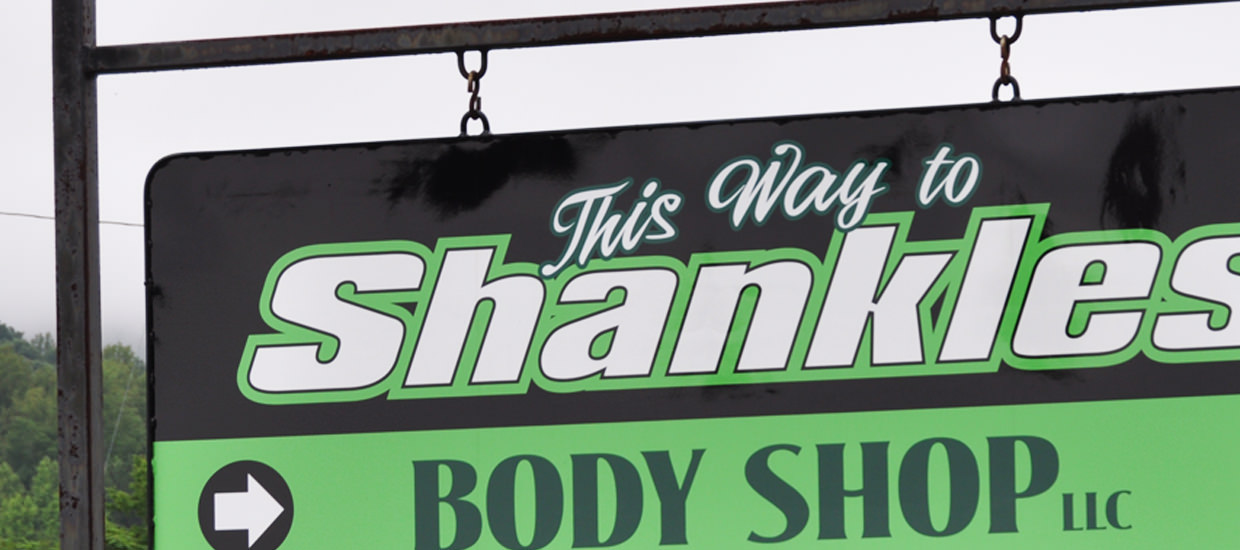 Polymetal sign for Shankles Body Shop, an Alabama based body shop.