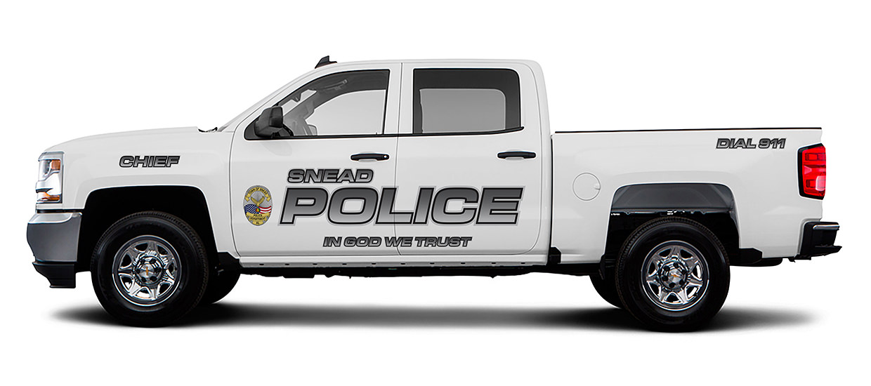 Silverado Police Truck Lettering for Snead Police Department.