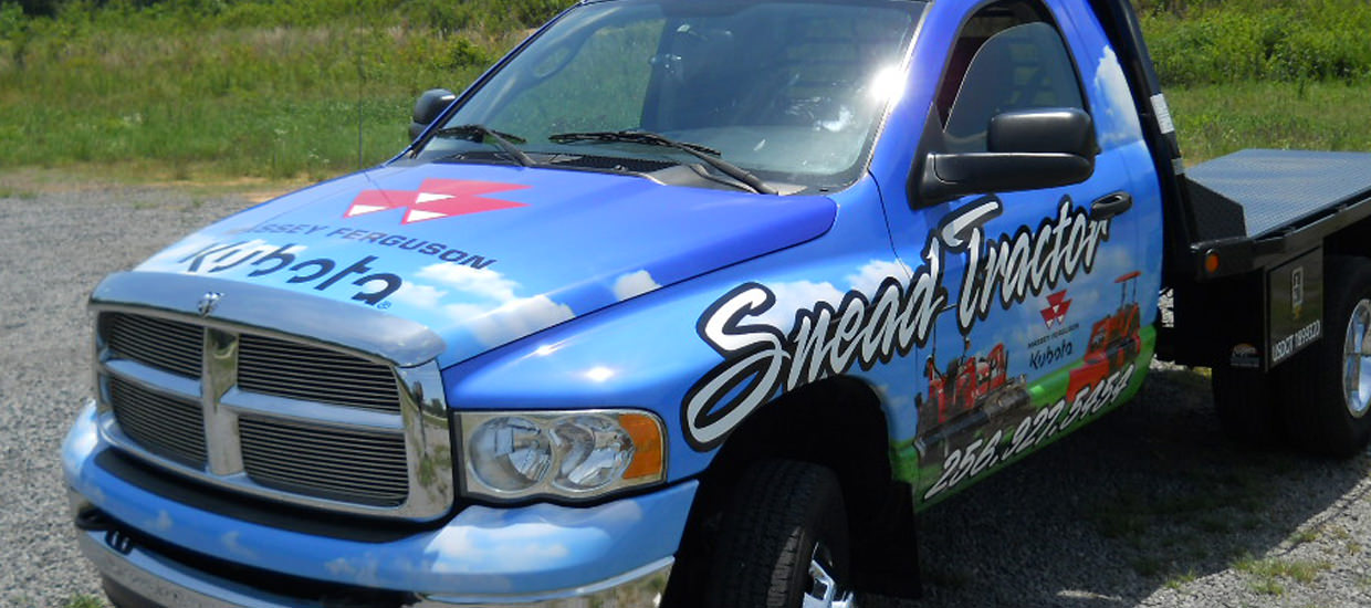 Vehicle Wrap for Snead Tractor, a farming and agricultural sales company.