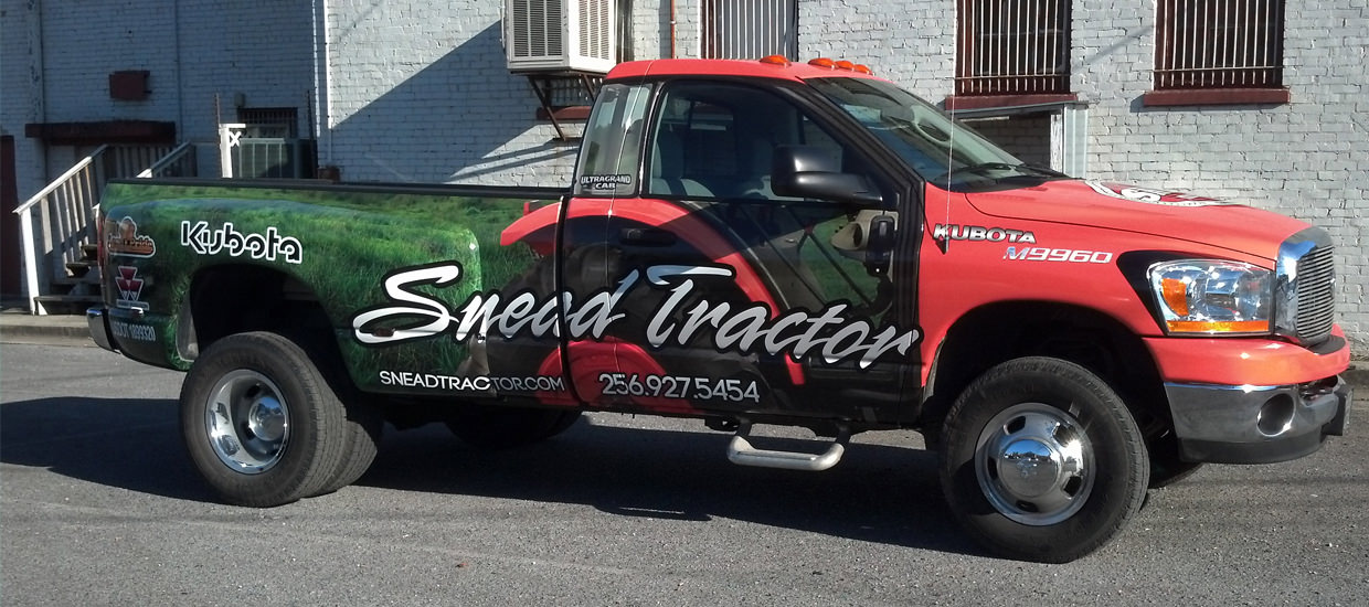 Vehicle Wrap for Snead Tractor, a farming and agricultural sales company located in Alabama.