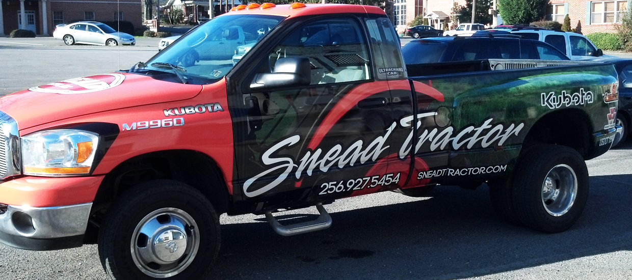 Vehicle Wrap for Snead Tractor, a farming and agricultural sales company located in Centre, Alabama.