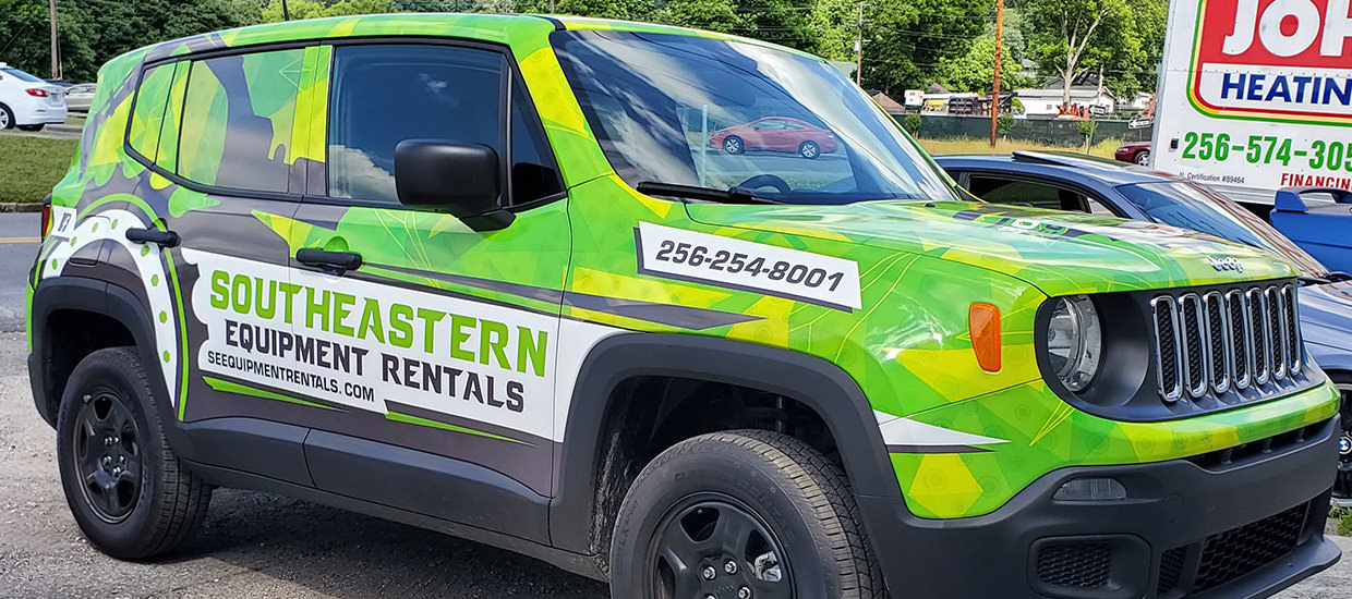 Full Jeep Renegade Wrap for Southeastern Equipment Rentals.