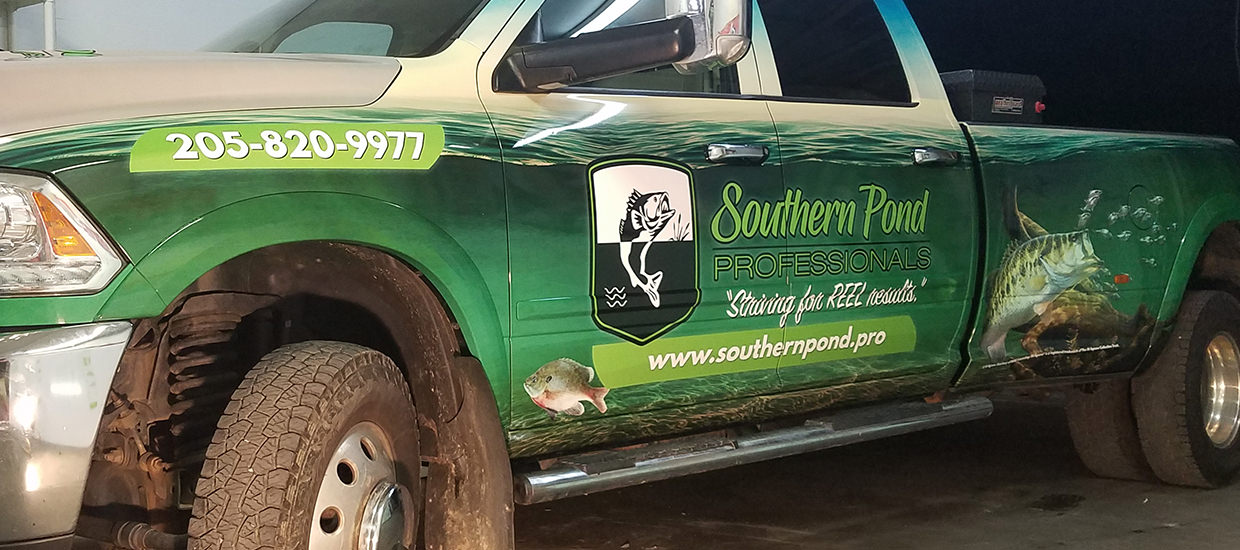 Full Truck Wrap Design and Install for Southern Pond Professionals.