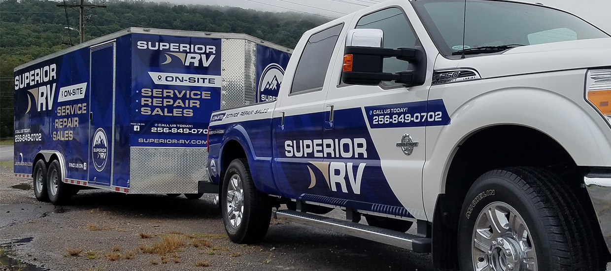 Trailer and truck wrap design and installation for Superior RV.