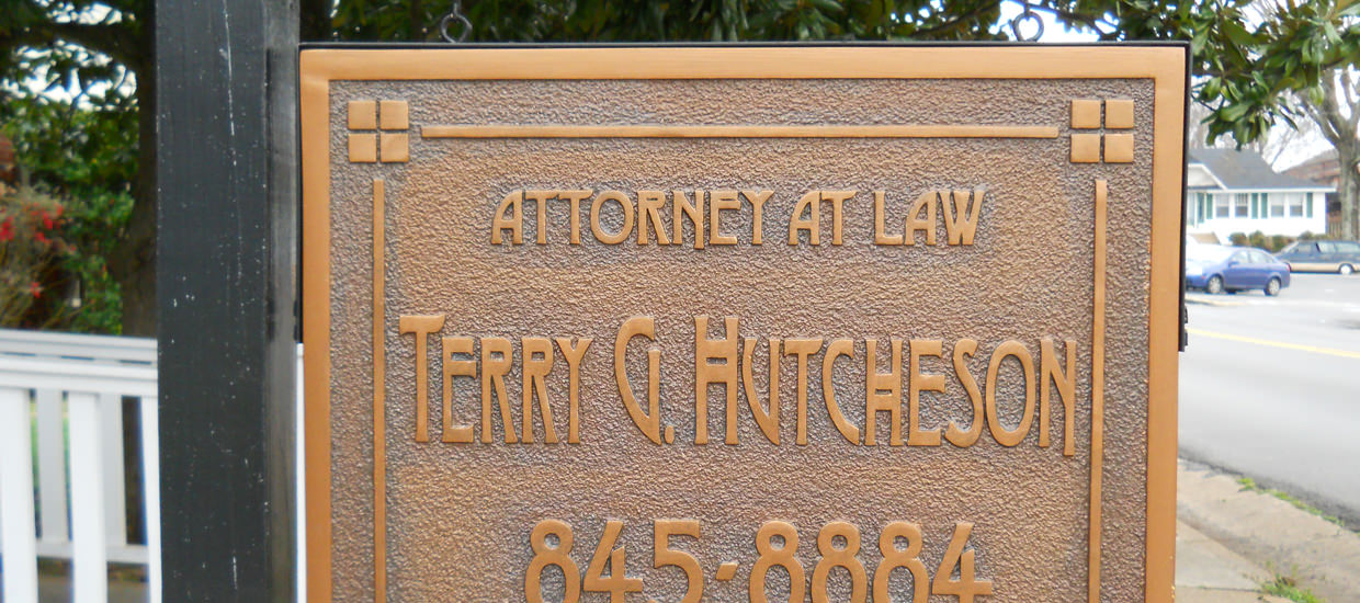 Sandblasted Sign in Fort Payne, AL for Terry G. Hutcheson.