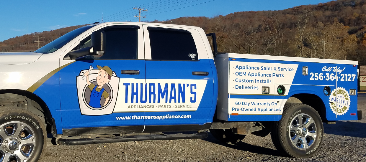 Partial truck wrap design for Thurman's, an Alabama used appliance and repair store.