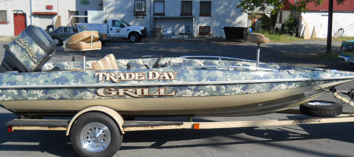 Trade Day Grill full boat wrap for Trade Day Grill in Collinsville, AL.