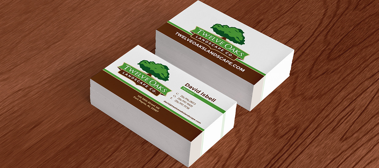 Business card design for Twelve Oaks Landscape Co., a Northeast Alabama landscaping company.