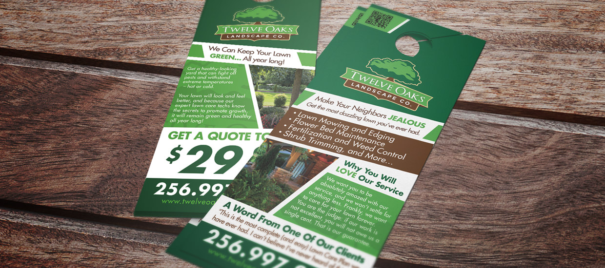 Door hanger design for Twelve Oaks Landscape Co.