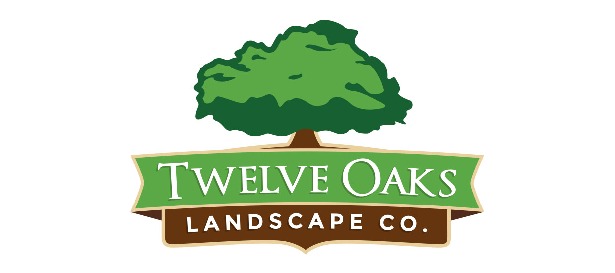Logo design for Twelve Oaks Landscape Co., a landscaping company located in Fort Payne, Alabama.