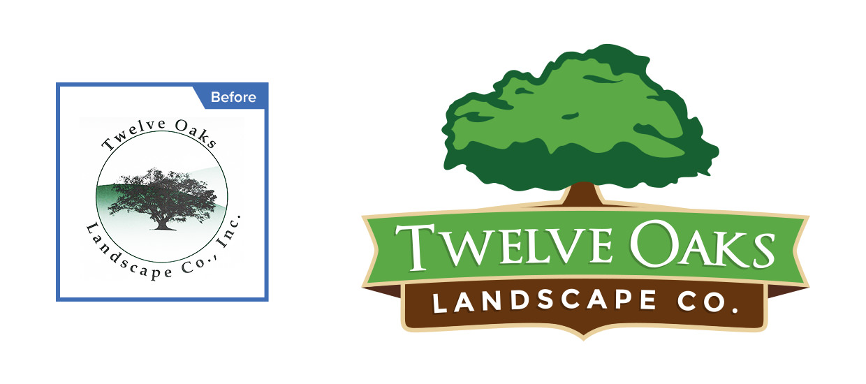 Before and after of our logo redesign for Twelve Oaks Landscape Co.