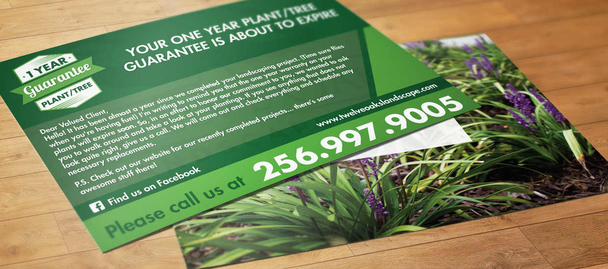 Post card design for Twelve Oaks Landscape Co.