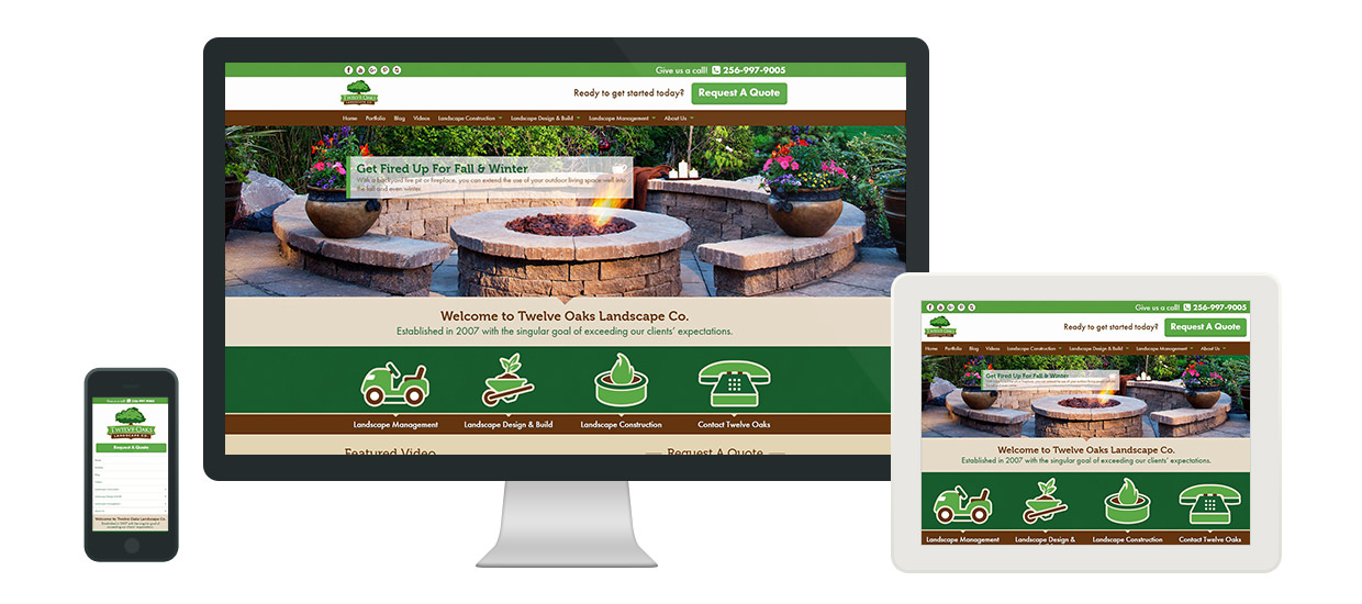 Responsive Web Design for Twelve Oaks Landscape Company